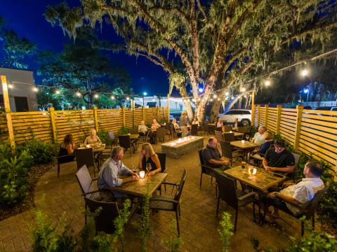 Dining on the patio at Lagniappe restaurant in Amelia Island, Florida